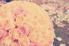 Vintage roses bouquet arrange for wedding  decoration. In garden Royalty Free Stock Photo