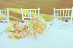 Vintage roses bouquet arrange for wedding Stock Photo