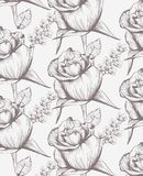 Vintage roses floral card line art. Beautiful background. hand drawing graphic styles Royalty Free Illustration