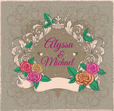Vintage roses frame. Royalty Free Stock Image