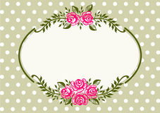 Vintage roses green frame royalty free illustration