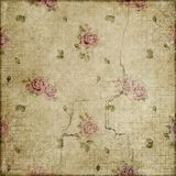 Vintage roses grunge on beige background scrapbook stock image
