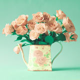 Vintage roses in a jar Stock Photos