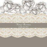 Vintage Roses and lace Invitation card Royalty Free Stock Image