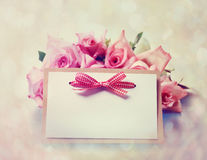 Vintage roses with message card Stock Images