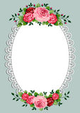 Vintage roses oval frame vector illustration