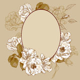 Vintage roses oval frame. With space for your text Royalty Free Stock Photo