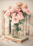 Vintage Roses Over Book Stock Photos