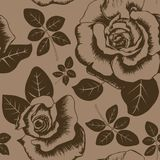 Seamless brown vintage floral pattern with rose and leaves royalty free illustration