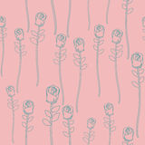 Vintage roses on pink background seamless pattern. Vector retro Royalty Free Stock Image