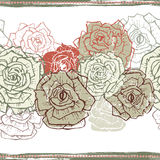 Vintage roses  seamless border Stock Photography