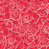 Vintage roses seamless pattern. Sketchy illustration. Abstract background. Flowers pattern. Retro pattern. Freehand drawing. Paper, cutout, applique, origami Stock Photos