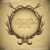 Vintage roses vector card with deer antlers Stock Photography
