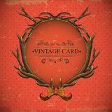 Vintage roses vector card with deer antlers Stock Images