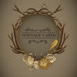 Vintage roses vector card with deer antlers Royalty Free Stock Photos