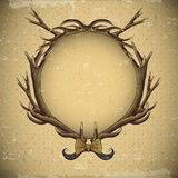 Vintage roses vector card with deer antlers Royalty Free Stock Photo