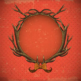 Vintage roses vector card with deer antlers Stock Image