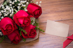 Vintage Roses  on wooden board, Valentines Day background, weddi Royalty Free Stock Images