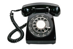Vintage Rotary Dial Black Telephone Isolated Stock Photos