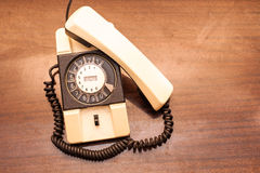 Vintage rotary dial telephone. stock photos