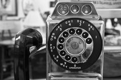 Vintage Rotary Pay Phone - Old Pay Telephone Stock Photos