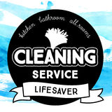 Vintage round badge for cleaning service with dust Royalty Free Stock Photo