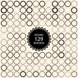 129 vintage round borders. Set with circle frames. Royalty Free Stock Image