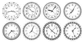 Free Vintage Round Clock Face. Antique Clocks With Arabic Numerals, Retro Watchface And Antic Watches Vector Illustration Set Royalty Free Stock Image - 160548546