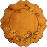 Vintage round frame adorned with roses.   Stock Photography