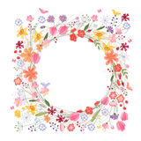 Vintage round frame with contour field flowers on Royalty Free Stock Photos