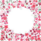 Vintage round frame with contour red flowers Royalty Free Stock Photography
