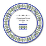 Vintage Round Frame 016 Cross Flower Vine Stock Photos