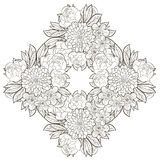 Vintage round frame with flowers. Royalty Free Stock Images