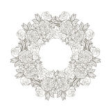 Vintage round frame with flowers. Royalty Free Stock Image