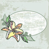 Vintage round frame with lilies on a light green background Stock Photos