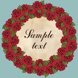 Vintage round frame of rose flower, flower garland. Wreath of red flowers buds, leaves, and label for text, blue background. Illus Stock Image