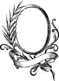 Vintage round frame. Vector drawing of decorative frame in the old-fashioned style Stock Photography