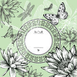 Vintage round frame with water lilies, butterflies stock illustration