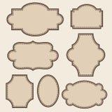 Vintage round frames set. Vector illustration.  Stock Photo