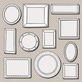 Vintage round frames set. Vector illustration.  Royalty Free Stock Photo
