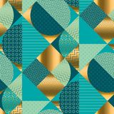 Vintage round geometric seamless pattern. For fabric and other surface design. Abstract textured patchwork repeatable motif royalty free illustration