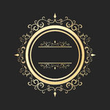 Vintage round gold floral frame . Ornate calligraphic design element. Stock Photo