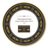 Vintage Round Retro Frame 335 Antique Golden Spiral Flower Stock Photography