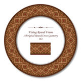 Vintage Round Retro Frame 064 Aboriginal Round Cross Geometry. Antique retro abstract round frame and background can be used for wallpaper, web page background Royalty Free Stock Image