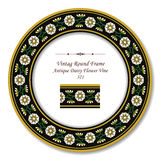 Vintage Round Retro Frame 321 Antique Daisy Flower Vine Stock Photography