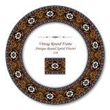 Vintage Round Retro Frame 339 Antique Round Spiral Flwoer Stock Image