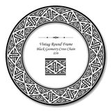 Vintage Round Retro Frame 039 Black Geometry Cross Chain Stock Image