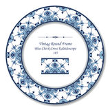 Vintage Round Retro Frame 165 Blue Check Cross Kaleidoscope Royalty Free Stock Photos