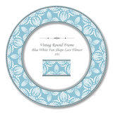 Vintage Round Retro Frame 193 Blue White Fan Shape Lace Flower Royalty Free Stock Images