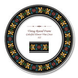 Vintage Round Retro Frame 322 Colorful Flower Vine Cross Stock Image